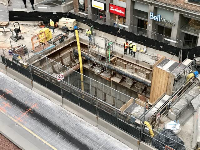 Extraction of east tunnel boring machines for Crosstown LRT project.