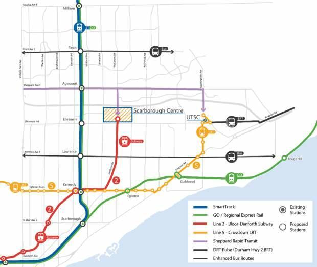 Extension of TTC line 2 to Scarborough Centre