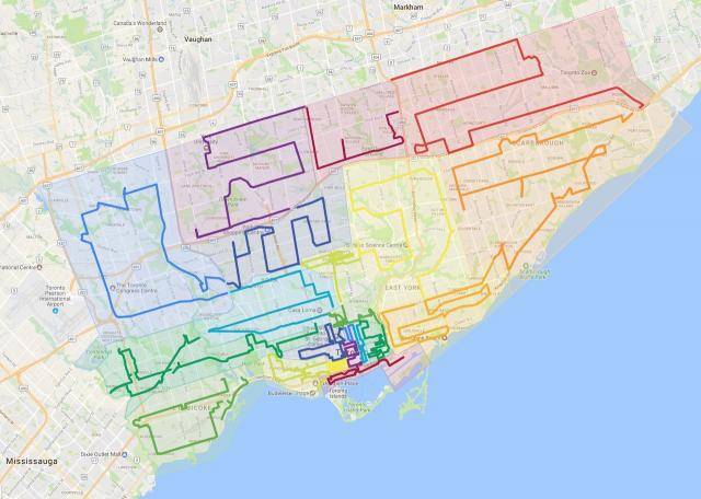 21 paths through the 416, base map from Google Maps