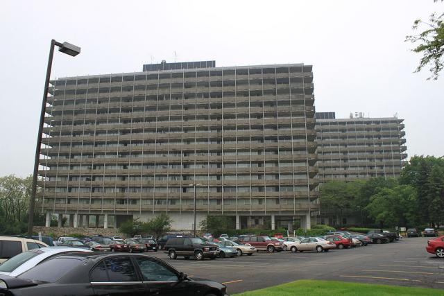 The Huron Towers in Ann Arbor, Michigan, utilized the lift slab technique, image