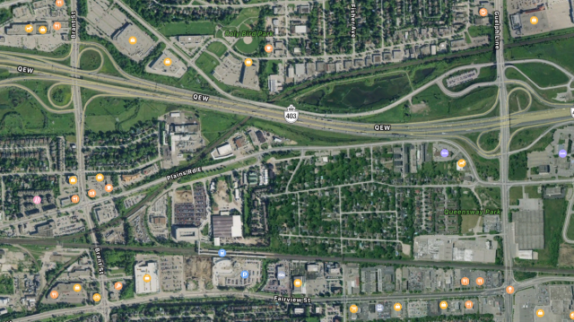 Burlington GO context, with no crossings of the QEW between Brant St & Guelph Ln