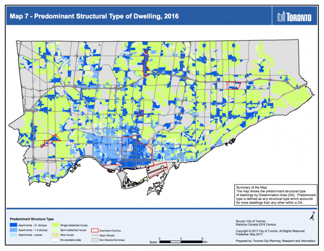 Predominant Structural Type of Dwelling Map, 2016, image by City of Toronto