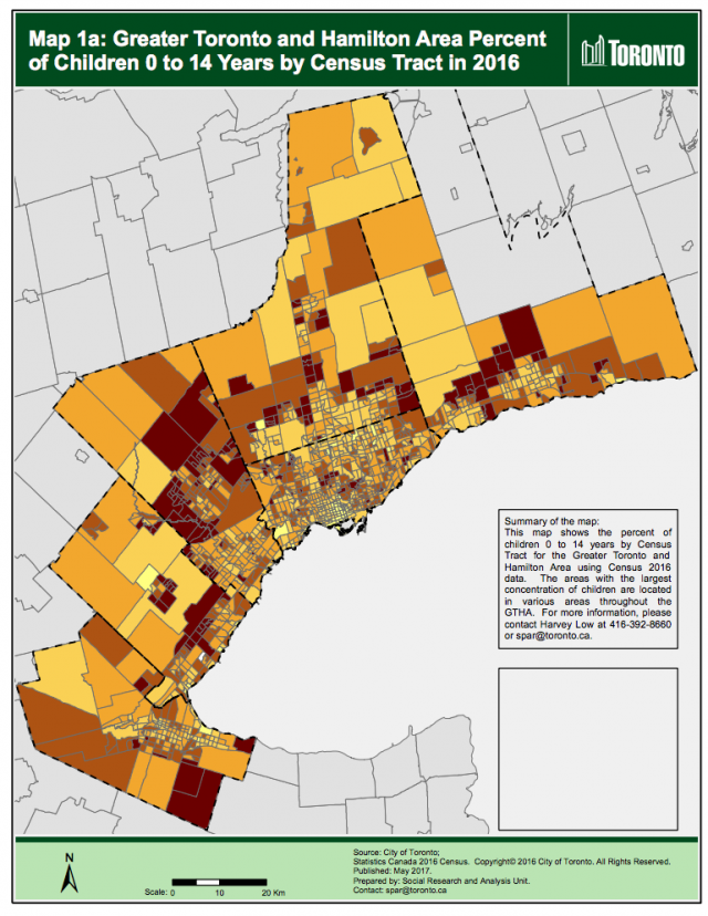 Greater Toronto and Hamilton Area Percent of Children 0 to 14 Years by Census Tr