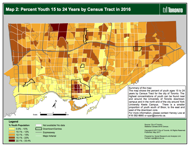 Percent Youth 15 to 24 Years by Census Tract in 2016 Map, image by City of Toron