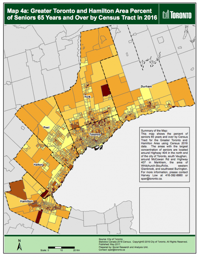 Greater Toronto and Hamilton Area Percent of Seniors 65 Years and Over by Census