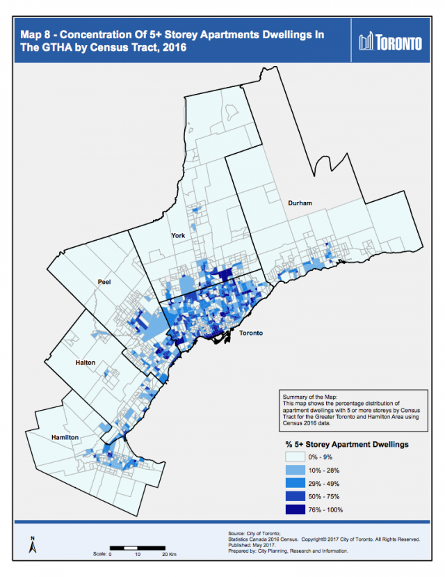 Concentration Of 5+ Storey Apartments Dwellings In The GTHA by Census Tract, 201