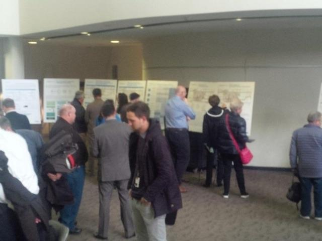 People browse Scarborough Subway display panels in the Civic Centre