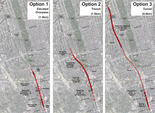 The 3 options examined as part of the Davenport Diamond Grade Separation project