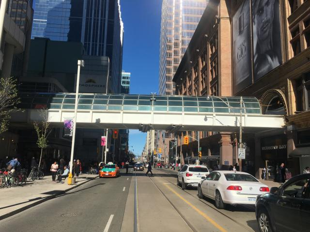 The existing bridge over Yonge Street, already being disassembled, image by Stef