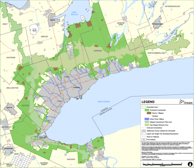 Updated map showing the Greenbelt Area in the GGH, image courtesy of the Provinc