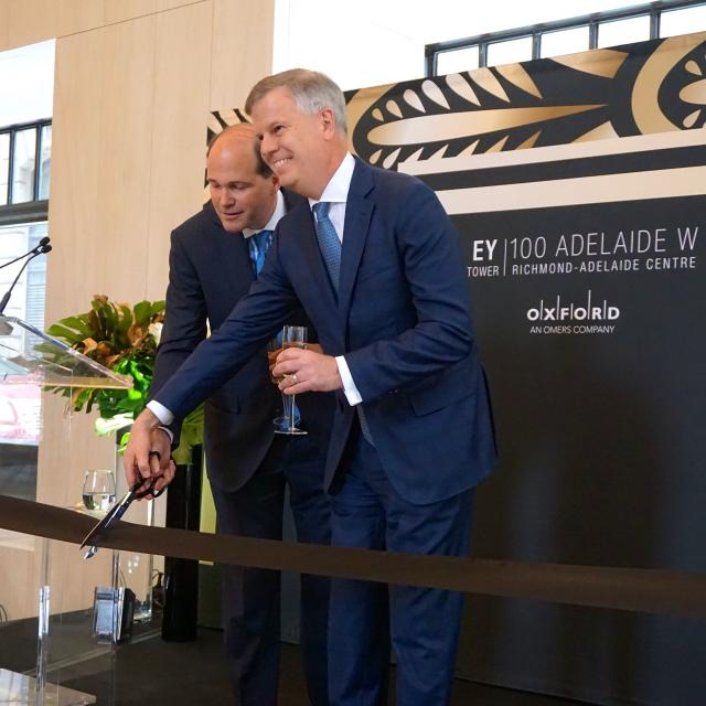 Ribbon cutting for the EY Tower in Toronto, Blake Hutcheson, Eric F. Rawlinson