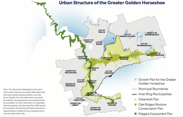 The urban structure of the GGH, highlighting the greenbelt, image via Province o