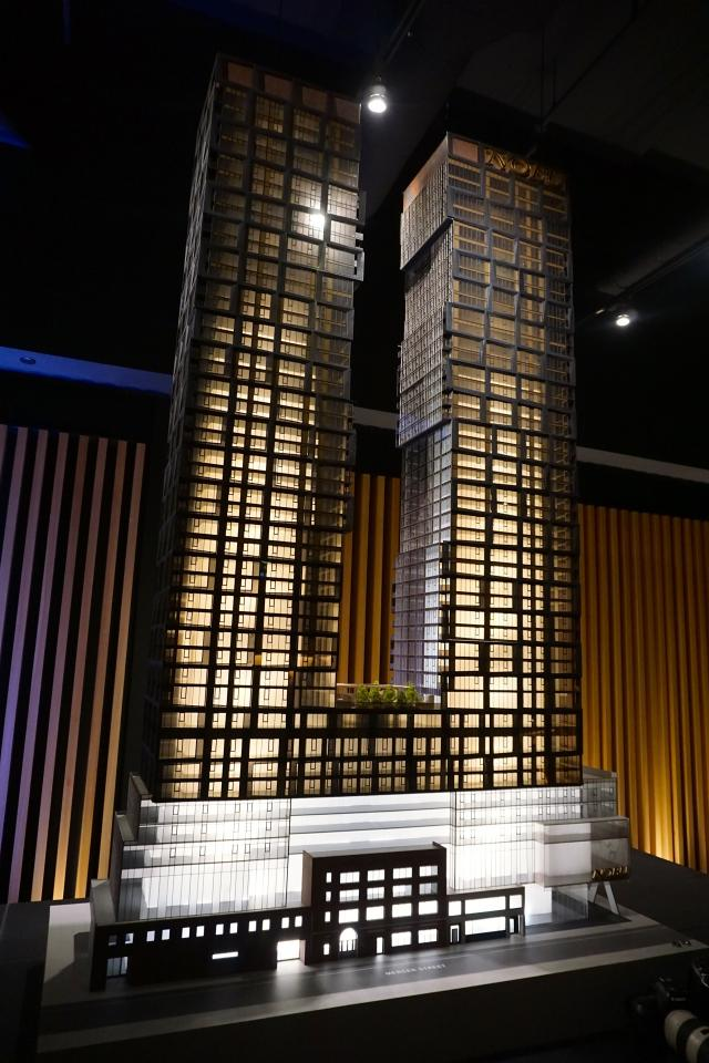 Scale model of Nobu Toronto, to rise on the south side of Mercer Street