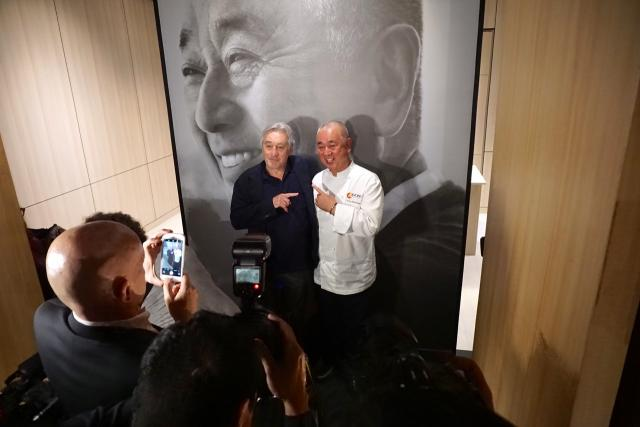 De Niro and Matsuhisa mug for the cameras at the Nobu Toronto press launch