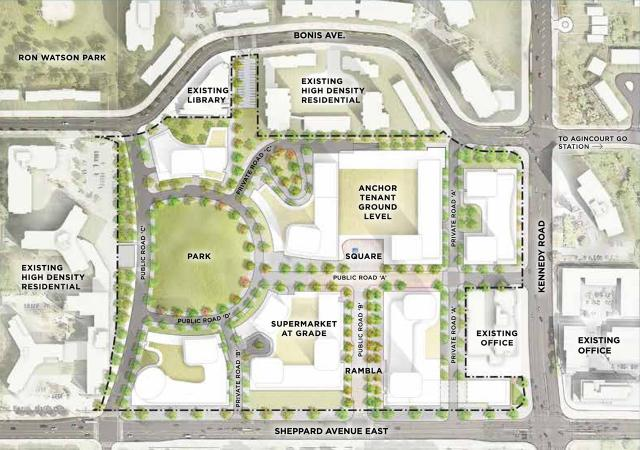 Site Plan of Agincourt Mall Redevelopment, Giannone Petricone, North American