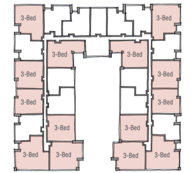 A C-shaped podium floorplate dominated by three-bedroom units, image via City of