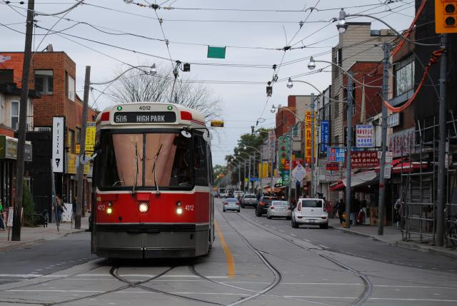 A streetcar in Riverdale, image by UT Flickr contributor Adrian Badarco
