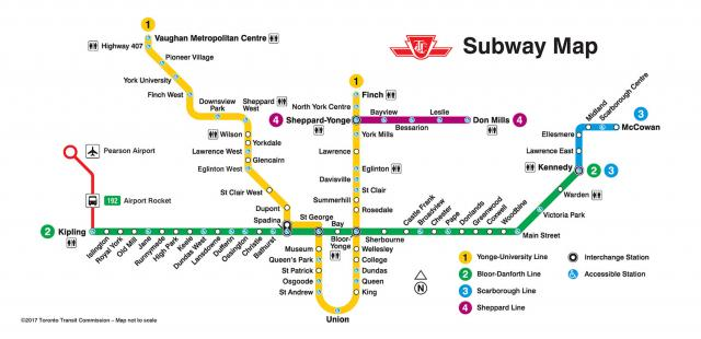 The TTC's future subway map, showing the Spadina Subway Extension