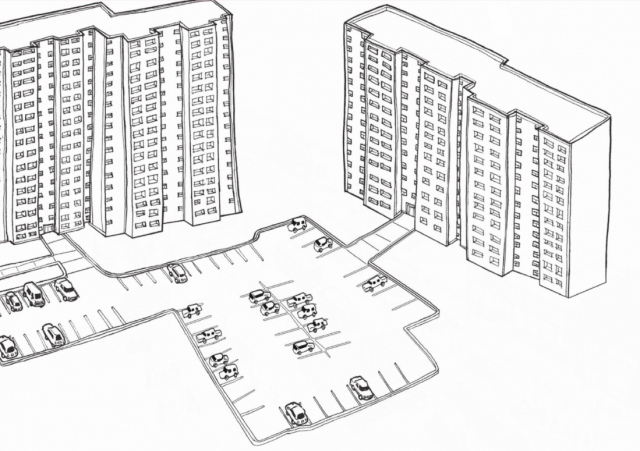 Stylized drawing showing current state of tower neighbourhoods, image by Daniel