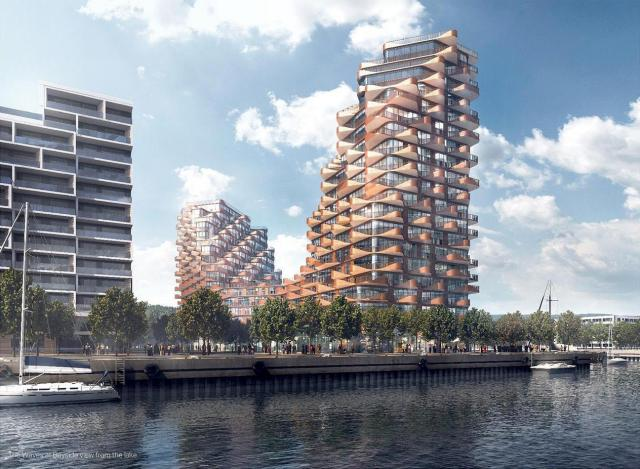 Looking northeast to The Waves at Bayside, Toronto, designed by 3XN for Tridel