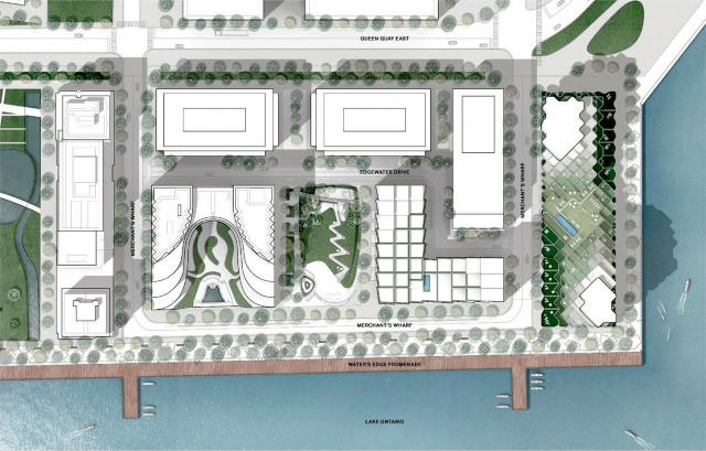 Site plan for Bayside. The Waves is seen at the right. Image by 3XN for Tridel.