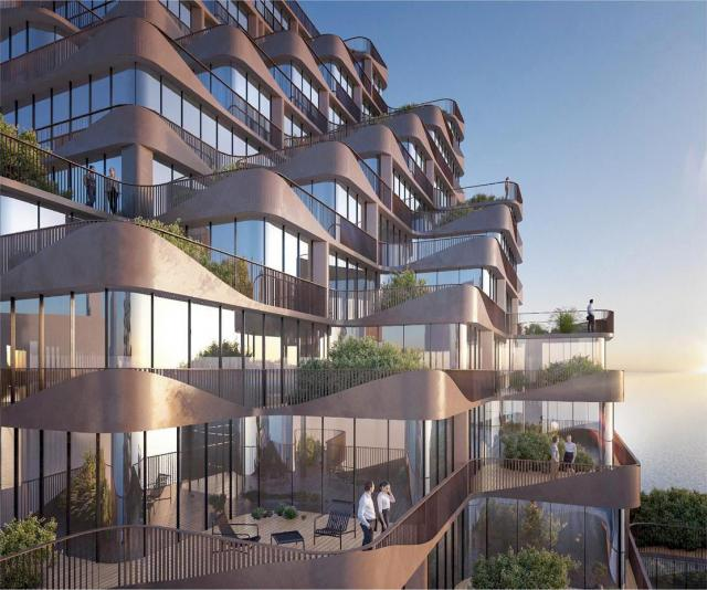 Angled balconies and terraces give all suites lake views at The Waves, Toronto