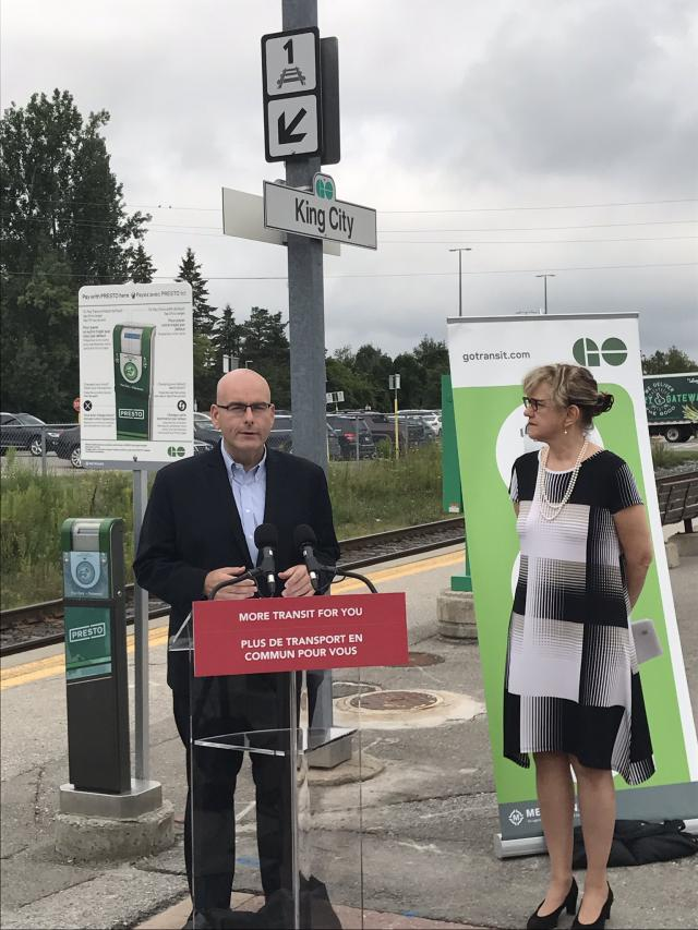 Ontario Minister of Transportation announcing more Barrie Line GO trains.