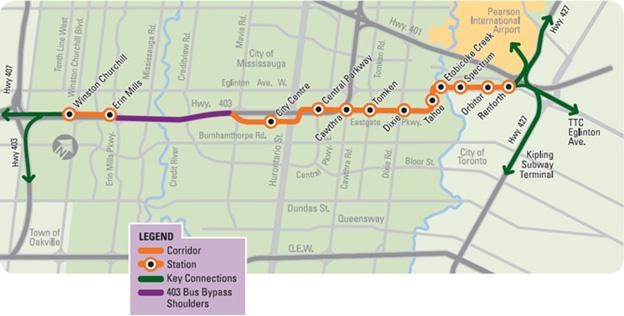 Mississauga Transitway map
