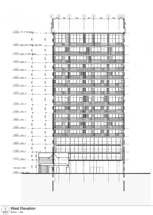 West elevation, 135 Portland Street, image retrieved from submission to City of