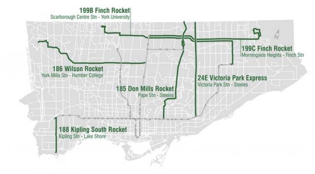 The TTC's 5 new Rocket express bus routes