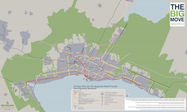 The 15-Year Plan from the 2008 Big Move, showing Transit City and Express Rail