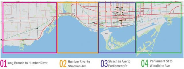 The four segments of the Waterfront Transit Reset