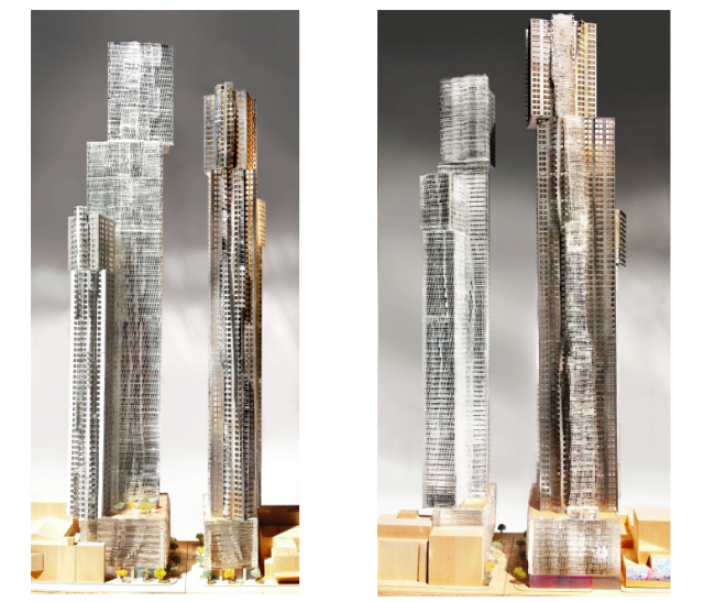 Looking north (left) and south (right) at Mirvish+Gehry Toronto, Projectcore