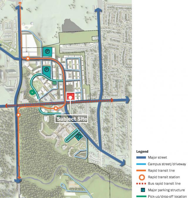 Location of the proposal within the UTSC Master Plan