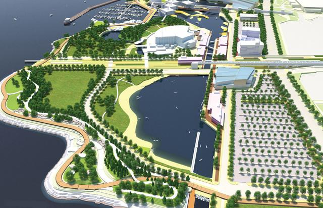Rendering of the proposed land bridge over Lake Shore Blvd