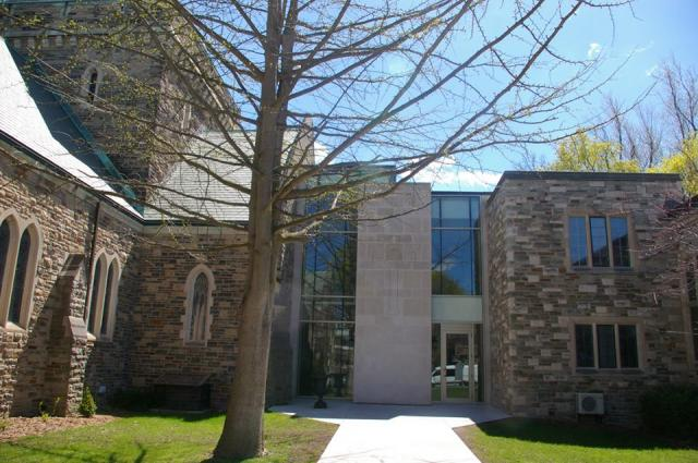 New accessible entrance blending with heritage architect, Glenview Presbyterian