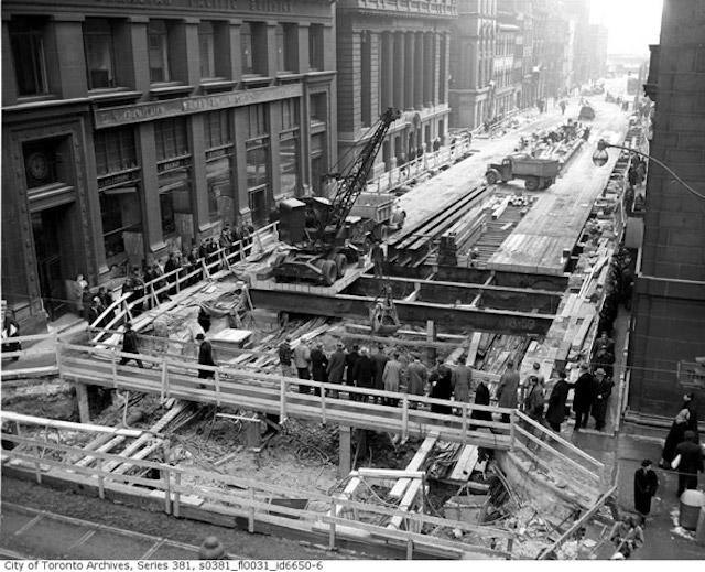 Subway construction on Yonge Street near King, City of Toronto Archives