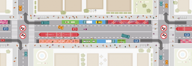 Sample road configuration plan for the King Street Transit Pilot