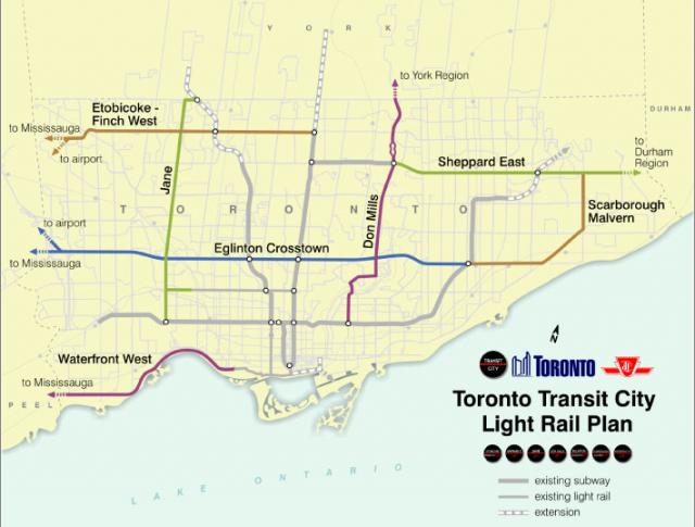 The original Transit City LRT plan, prior to the McGuinty government's 2010 cuts