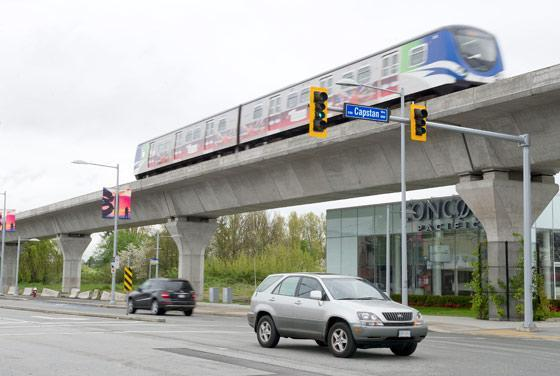 An elevated section of the Canada Line