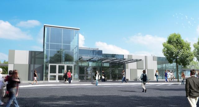 Rendering of the new entrance area at Cooksville GO