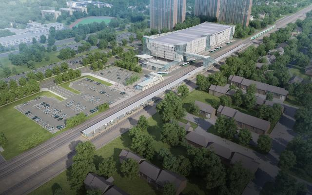 Rendering of the new station at Cooksville GO