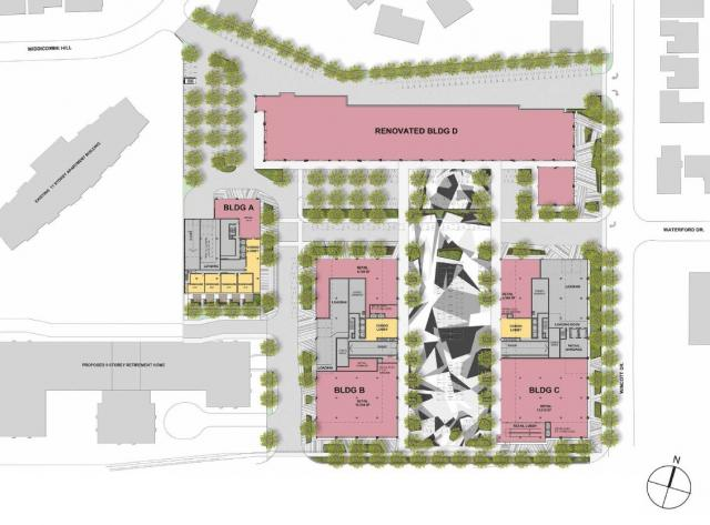site plan of richview redevelopment at 4620 Eglinton Avenue West
