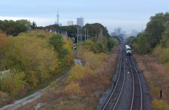 The reduction from 3 tracks to 2 east of Guildwood GO