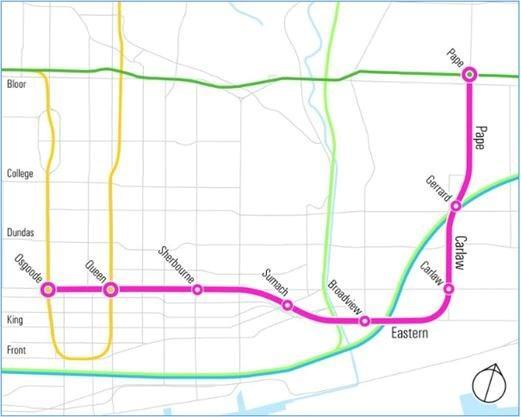 The approved alignment of the Relief Line South, estimated at $6.8B
