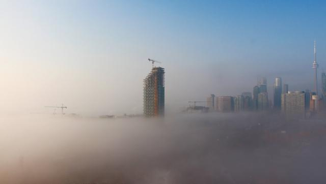 Photo of the Day, Toronto, skyline, fog, East Bayfront