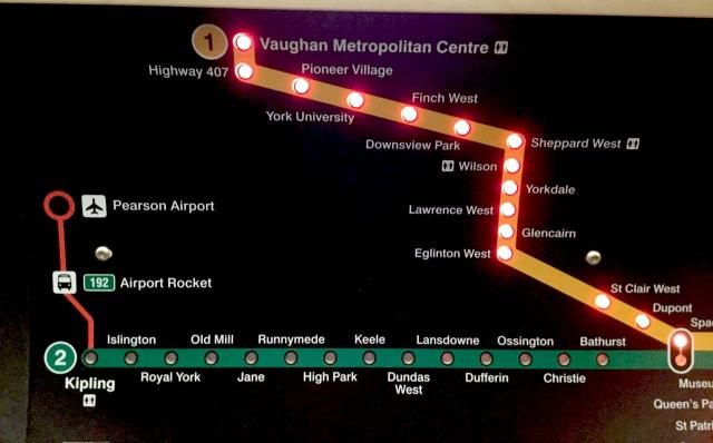 Line 1 extension stations lit up this morning on the subway, image by MarkRejhon