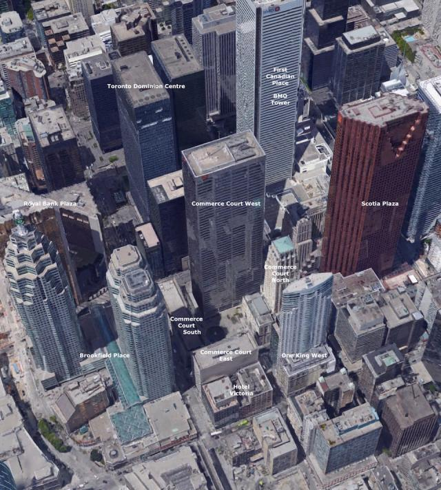 Aerial view of the current situation of Commerce Court and surrounding, Toronto
