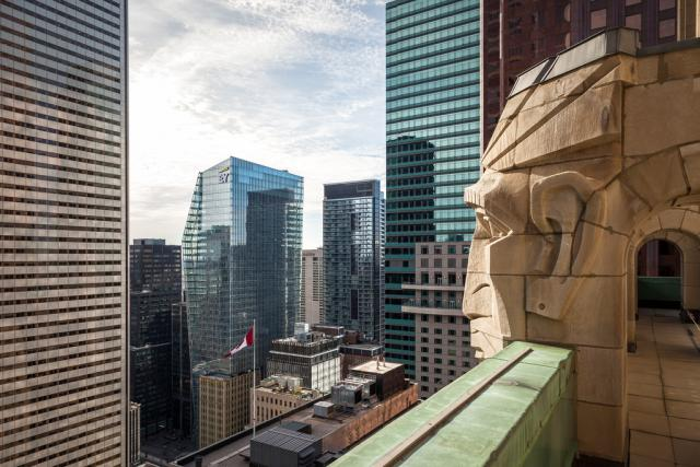 Observation level at Commerce Court North, looking northwest past the heads