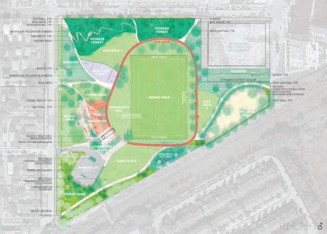 Master plan for Grand Manitoba Park, image courtesy of the City of Toronto